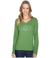 Life Is Good Joy Snowflake Long Sleeve Crusher Vee Treetop Green Women's Long Sleeve Pullover