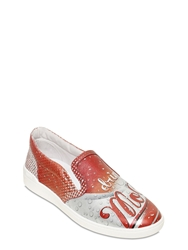 Moschino Cola Printed Leather Slip On Sneakers Red