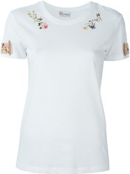 Red Valentino Floral Embroidery T Shirt White