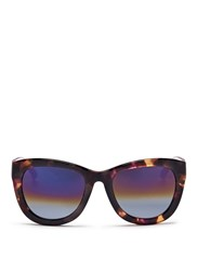 Matthew Williamson Contrast Temple Tortoiseshell Acetate Mirror Sunglasses Animal Print Multi Colour