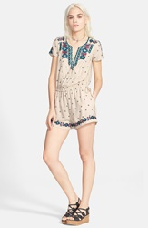 Free People 'Noyal Song For You' Embroidered Romper Tea Combo