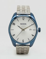 Nixon Navy And Silver Bullet Bracelet Watch Silver