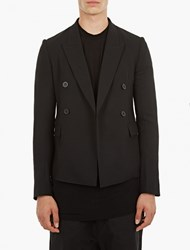 Rick Owens Black Cropped Double Breasted Jacket