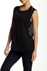 Asics Stripe Mesh Tank And Sports Bra Black