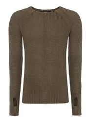 Replay Cotton Jumper Olive