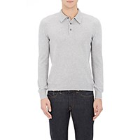 Gran Sasso Men's Knit Long Sleeve Polo Shirt Grey