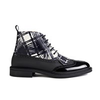 Vivienne Westwood Man Men's Lace Up Fringed Brogue Boots Graphite Black Scribble White