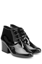 Robert Clergerie Patent Leather Lace Up Ankle Boots Black