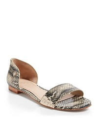 Tory Burch Snake Embossed Flat Sandals Savannah Black White Cobra