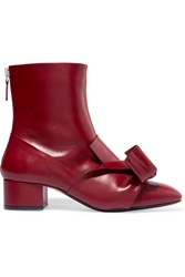 N 21 No. Knotted Leather Ankle Boots Burgundy