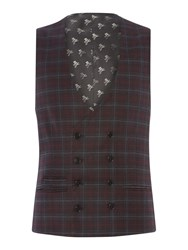 Label Lab Men's Axl Flannel Check Skinny Suit Waistcoat Grey