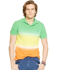Polo Ralph Lauren Custom Fit Dip Dyed Polo Shirt Travel Green