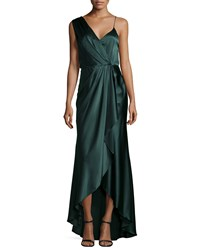 Haute Hippie Charmeuse Sleeveless V Neck Gown Emerald Green