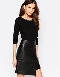 Sisley Longsleeve Top With Detailed Neck In Black Black