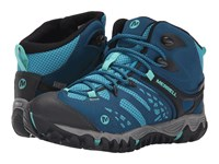 Merrell All Out Blaze Vent Mid Waterproof Turquoise Aqua Women's Shoes Blue