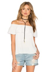 1. State Cold Shoulder Ruffle Blouse White