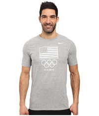 Nike Team Usa Flag T Shirt Dark Grey Heather White Men's Clothing Gray