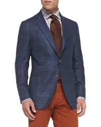 Isaia Windowpane Two Button Jacket Blue Rust