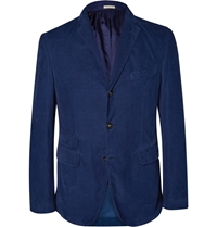 Massimo Alba Slim Fit Garment Dyed Corduroy Blazer Blue