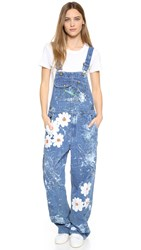 Rialto Jean Project Vintage Overalls With Daisies White Daisy