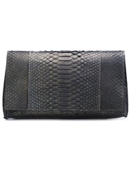 B May Snakeskin Clutch Grey