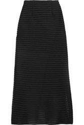 Maje Jeunesse Honeycomb Mesh And Jersey Maxi Skirt Black