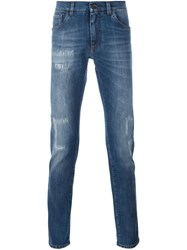 Dolce And Gabbana Distressed Slim Jeans Blue
