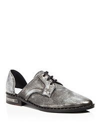 Frēda Salvador Freda Wit Metallic Lace Up D'orsay Oxfords Anthracite