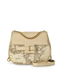 Alviero Martini Small Kalifornia Geo Print Leather Crossbody Bag Beige