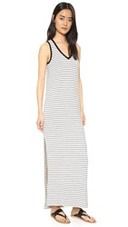 Atm Anthony Thomas Melillo Striped Jersey V Neck Dress Marble Black