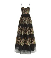 Marchesa Floral Embroidered Full Length Gown Female Black