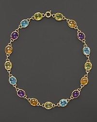 Bloomingdale's Amethyst Blue Topaz Citrine And Green Quartz Cabochon Necklace In 14K Yellow Gold 16 Gold Multi