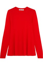 Mcq By Alexander Mcqueen Crochet Trimmed Wool Sweater Red
