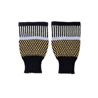 Margot And Me Short Fingerless Mittens Olive Black White Yellow