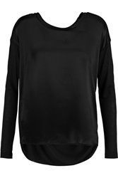 By Malene Birger Cutaliio Satin Paneled Modal And Silk Blend Jersey Top