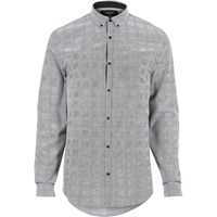 River Island Mens Grey Checked Flannel Slim Fit Shirt
