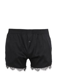 Dsquared Stretch Silk Satin Boxers With Lace Trim