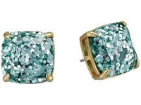 Kate Spade Small Square Studs Turquoise Multi Glitter Earring Blue