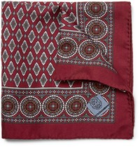Dolce And Gabbana Printed Silk Twill Pocket Square Burgundy