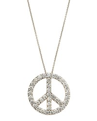Roberto Coin 18K Large Pave Diamond Peace Sign Pendant Necklace Women's