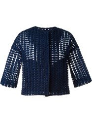 P.A.R.O.S.H. Crocheted Cropped Jacket Blue