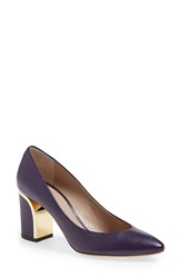 Chloe 'Becky' Pointy Toe Pump Women Deep Iris Purple Leather