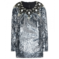 Dolce Gabbana Sequin Top With Crystal Embellished Collar Silver