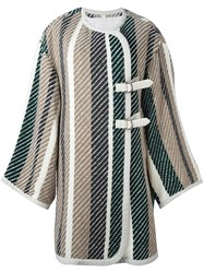 See By Chloe Woven Blanket Coat Green