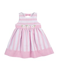 Florence Eiseman Sleeveless Striped Polka Dot Trim Dress Pink