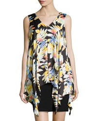 Muse Sleeveless Floral Print Overlay Dress Black Multi