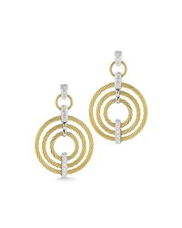 Alor Micro Cable Pave Diamond Circle Drop Earrings Yellow