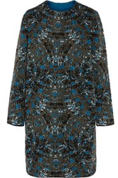 M Missoni Jacquard Knit Wool Blend Coat Blue