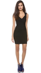 Herve Leger Signature Essentials V Neck Dress Black