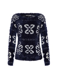 Mela Loves London Printed Eyelash Jumper Blue